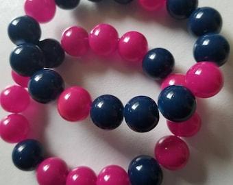 Pink and blue bracelet -arm candy-beaded bracelet-stack set
