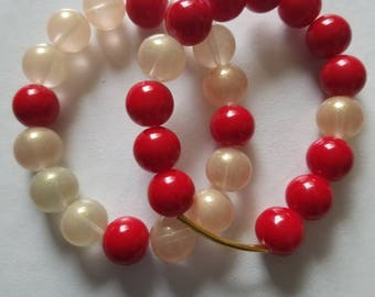 Red and champaigne beaded stack bracelet with gold accent