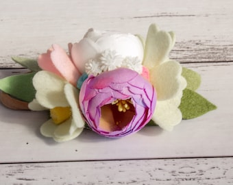 Flower headband, floral crown, kids hair accessory, birthday, silk flower, nylon band, mini floral