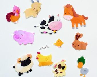 Farm Animals  Felt Set - Cute Animals Farm Flannel Board Story - Barnyard Felt Quiet Toys - Farmhouse Animal Busy Flannel Set - Farmer Gift