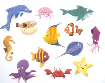 Felt Board Sea Animals Set - Cute Marine and Ocean Animals Felt Story Toy for Preschool and Homeschool Learning and Special Education