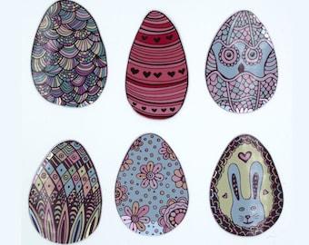 Boho Easter Eggs,  Teen Preteen Easter Basket Stuffers, Decorated Pastel Easter Eggs Fridge Magnets, Set of Six