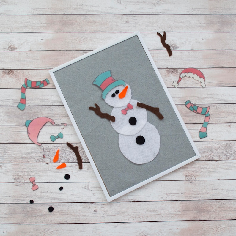 Snowman DIY Kit Winter Activity  Felt Stories Christmas image 0