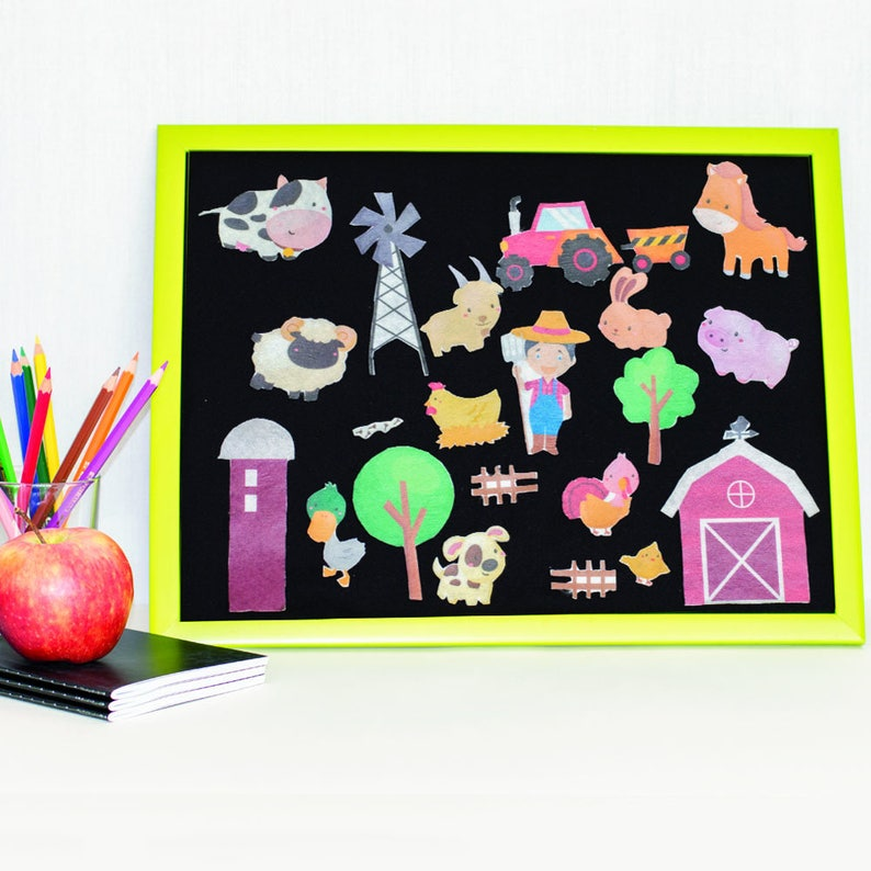 Build a Farm Pretend Play Animal Farm Felt Set Barnyard image 0