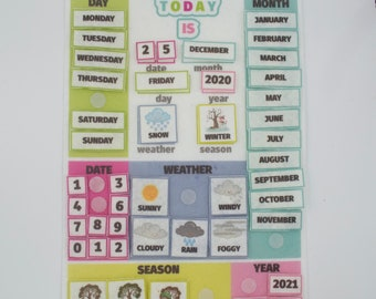 Classroom Calendar for Preschool Children, Montessori Calendar for Kids, Felt Learning Toys