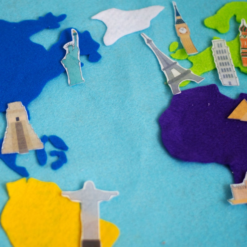 Felt Landmarks World Map Wall Art  Wanders of the World image 0