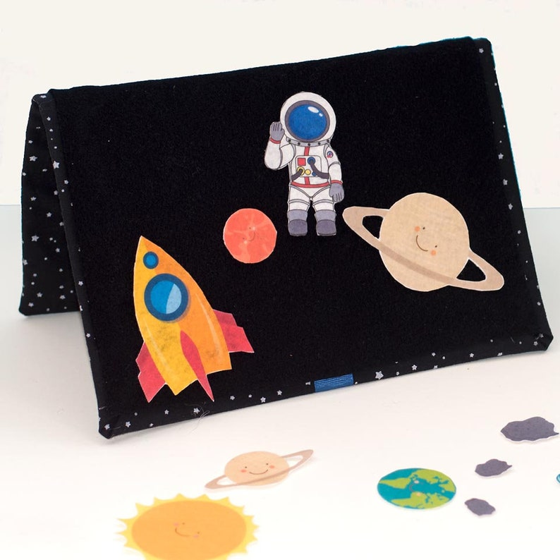 Felt Travel Board Set Space Adventure Toddler Toy Outerspace image 0