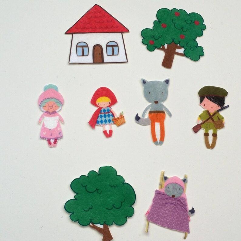 Fairy Tale Play Set Little Red Riding Hood Felt Board Story image 0