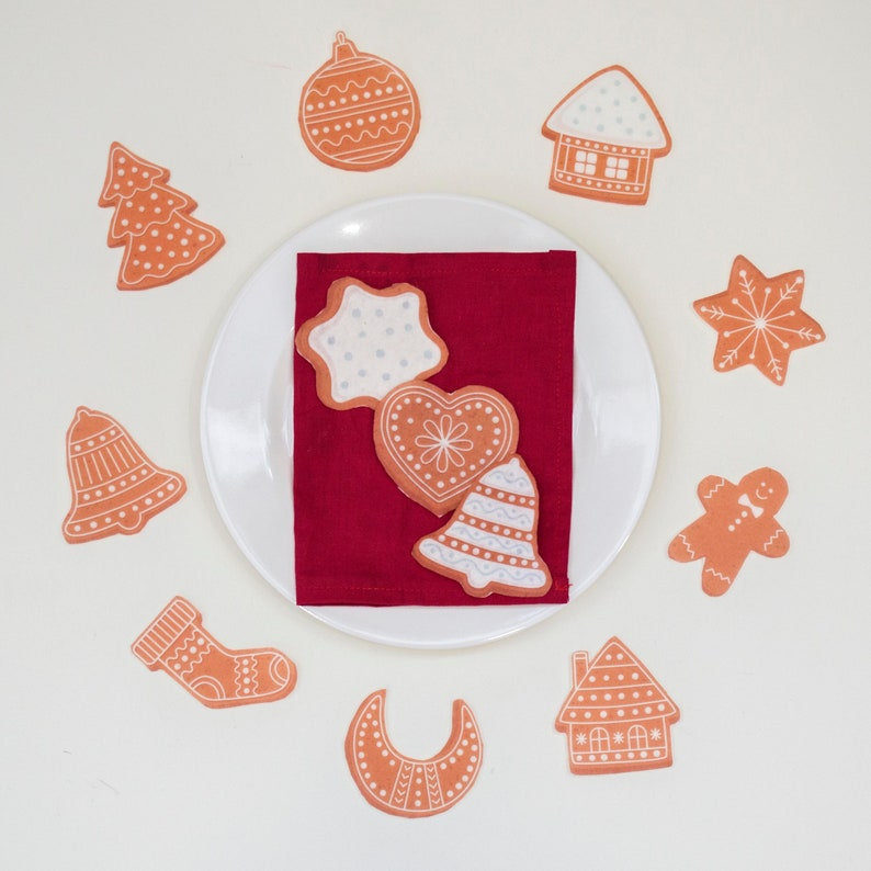 Felt Christmas Cookies  Pretend Play Food Set Toy  Basket image 0