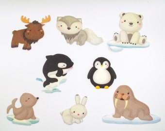 Arctic Animals Felt Toy Set, Polar Animals Preschool Learning Felt Board Stories, Educational Gifts for Toddlers