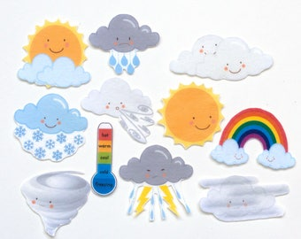 Preschool Toy Set, Felt Weather Set, Flannel Board Story, Toddler Learning Toy, Felt Rainbow and Clouds Set, Homeschooling Teaching Toy Set
