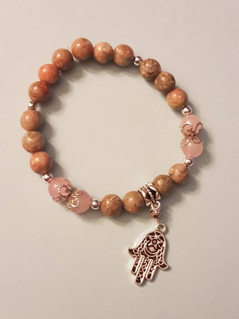 Unakite and Rose Quartz Bracelet with Hamsa Charm