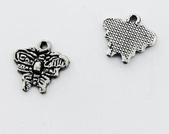 Pendant, butterfly, charm, silver colour, 8 x 10 mm, Hole 1.0 mm, 10 pieces