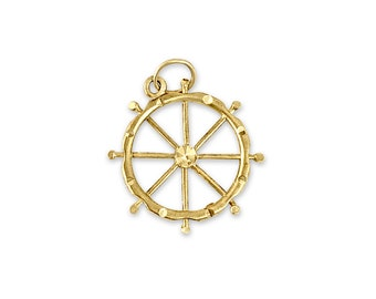 Details about  /New Real Solid 14K Gold Carriage Wheel with Steer Skull Charm