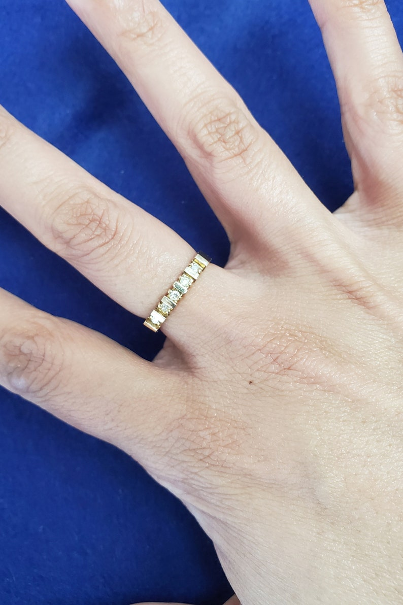 wedding gift 14k Solid Yellow Gold gift for her Diamond Wedding Band upgrade ring .19CTTW stackable ring