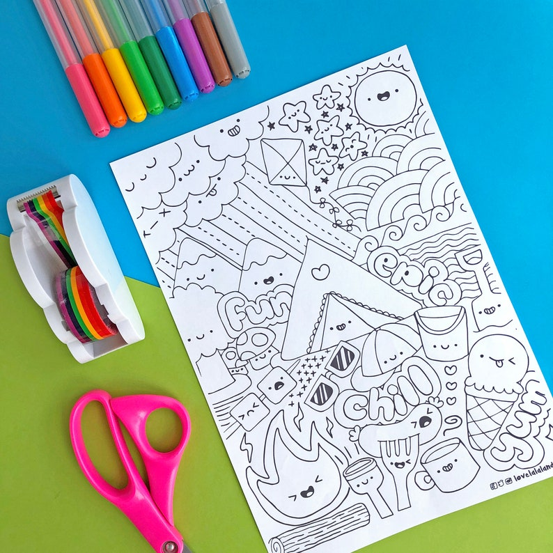 Happy camping colouring in page  printable PDF  DIGITAL image 0