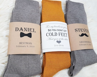 8f54ab85860f Personalized Wedding Socks /Groomsmen Gift/ Groomsmen Proposal/ Groomsmen  Socks & Sock Labels/ Groomsmen Gifts/ Best Man Gift/ Wedding Day