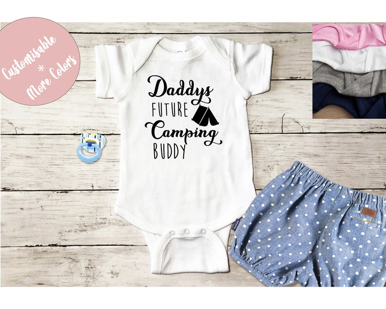 Daddy/'s camping Buddy romper Future camper Baby Onsie New FatherPregnancy AnnouncementUnique Baby reveal Gift