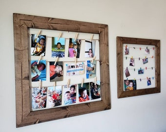 clothesline picture organizer turquoise picture display upcycled picture frame entryway organizer memory board Clothespin picture frame