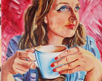 "2 "" Coffee fo One"" Vibrate painting"
