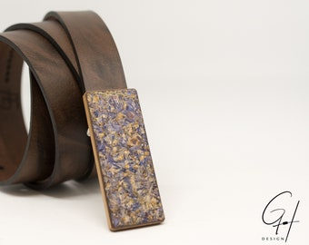Leather belt with wood buckle & corn Flowers