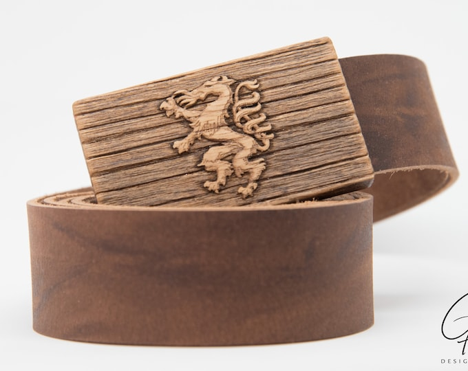 Leather belt with Styrian Panther wood buckle
