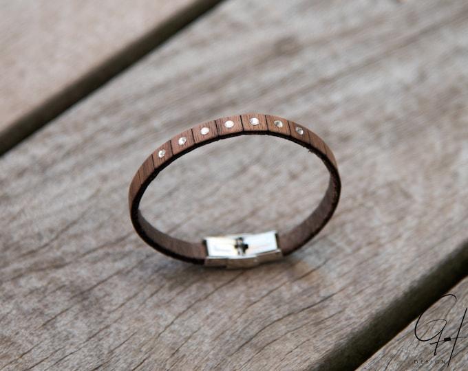 Bracelet walnut wood with Swarovski stones