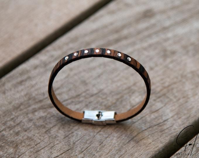 Bracelet Wooden Makassar with Swarovski Stones
