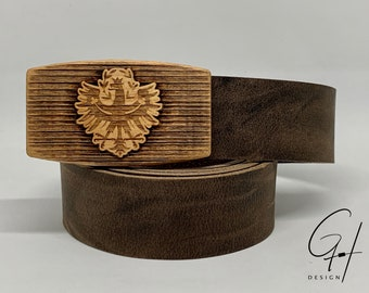 Leather belt with Tyrolean eagle wooden buckle