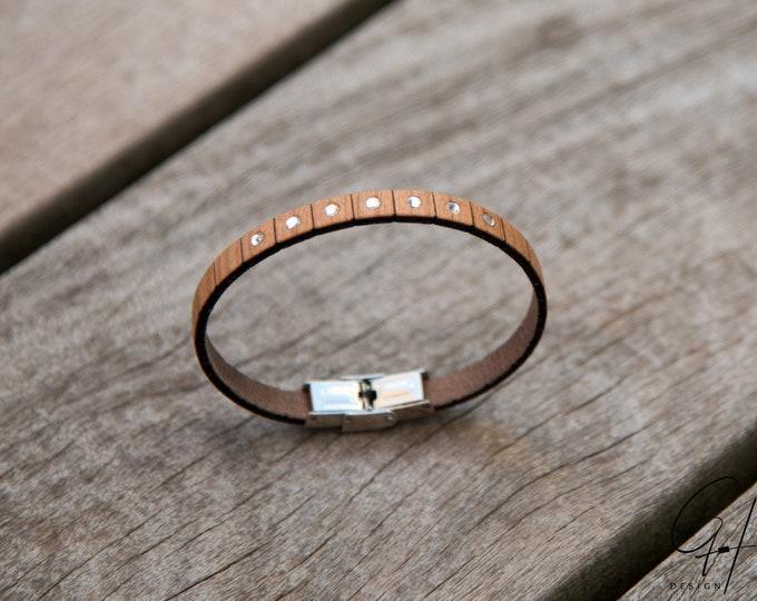Bracelet cherry wood with Swarovski stones