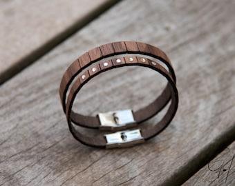 Partner Bracelet Walnut & Swarovski Stones