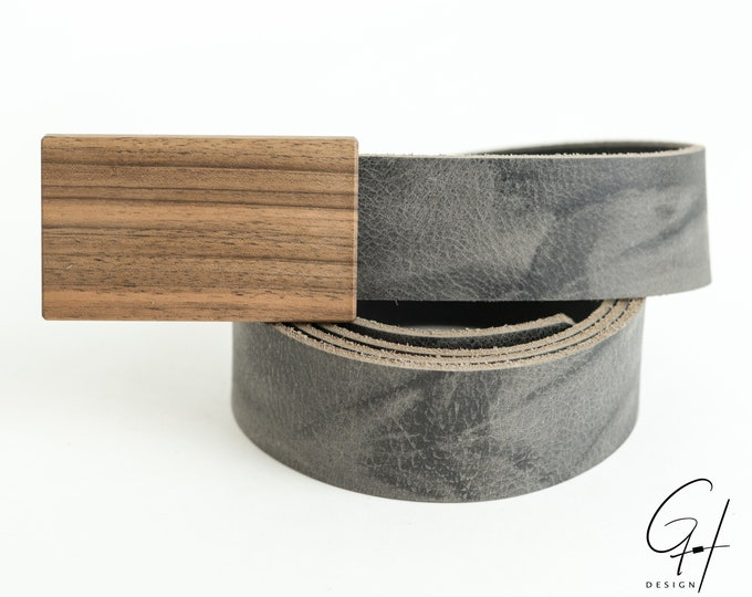 Leather belt with nut wooden buckle