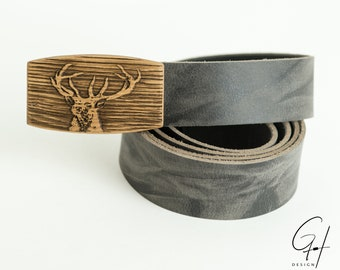 Leather belt with deer wooden buckle