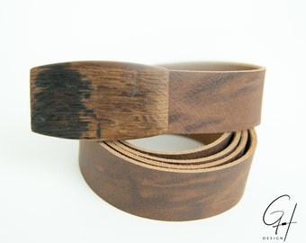 Leather belt with wooden buckle from the antique beer barrel