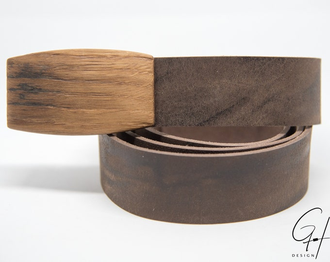 Leather Belt with Wooden Buckle From the antique Wine Barrel