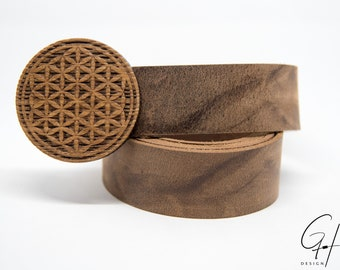 Leather belt with flower of life