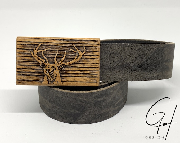 Leather Belt with Deer Wood Buckle
