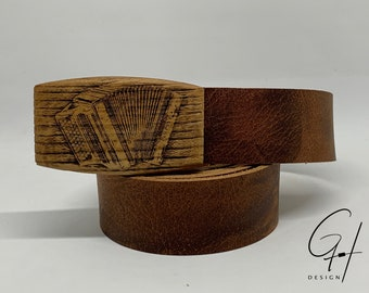 Leather belt with Styrian harmonica wooden buckle
