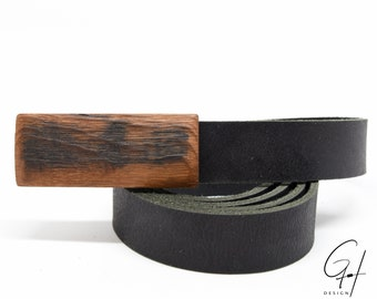 Leather belt with wooden buckle from antique whisky barrel