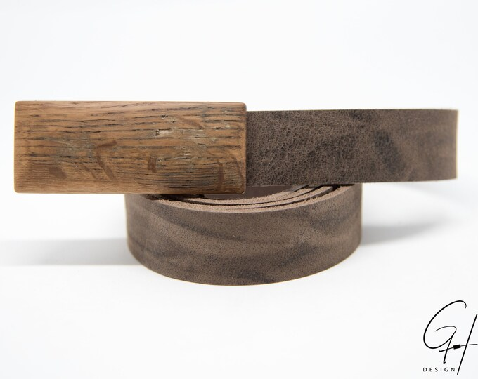 Leather Belt with Wooden Buckle from the antique Beer Keg