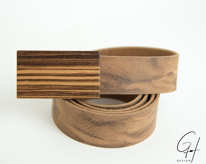 Leather belt with Zebrano wooden buckle