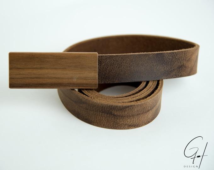 Leather belt with walnut buckle