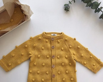 76fed045ce Hand knitted popcorn sweater Knitted bobble cardigan Yellow popcorn cardigan  Popcorn baby sweater Popcorn jacket