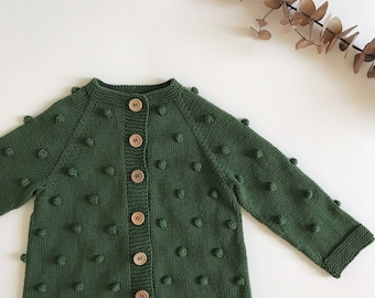 24936c3a22 Popcorn cardigan Knitted popcorn sweater Knitted bobble cardigan Green  popcorn sweater Knitted baby outfit