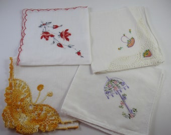 Vintage Hankie, Handkerchief, embroidered, Spring Themed, Lot of 4