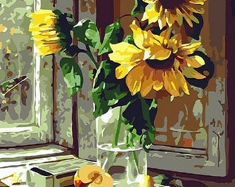 DIY Digital Painting Sunflower Child Gift Mother's Day Gift