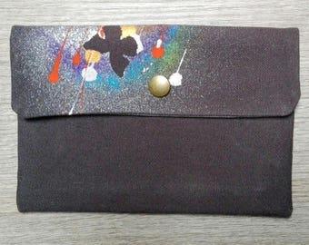Handmade hand painted cotton clutch bag