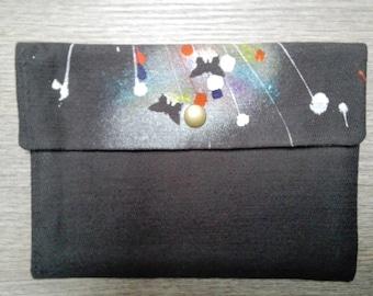 Handmade hand-painted cotton clutch bag
