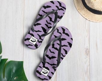 Purple Bat Flip-Flops - Goth/Spooky