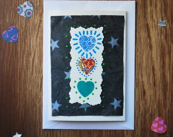 Handmade - Hearts and Stars/Quirky/ I Love You/ Navy/Pattern - Valentines Day Card- Birthday Card - Anniversary Card - Greeting Card